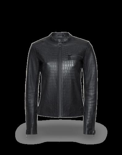 Taveri Croco Print Biker Jacket Lady, black